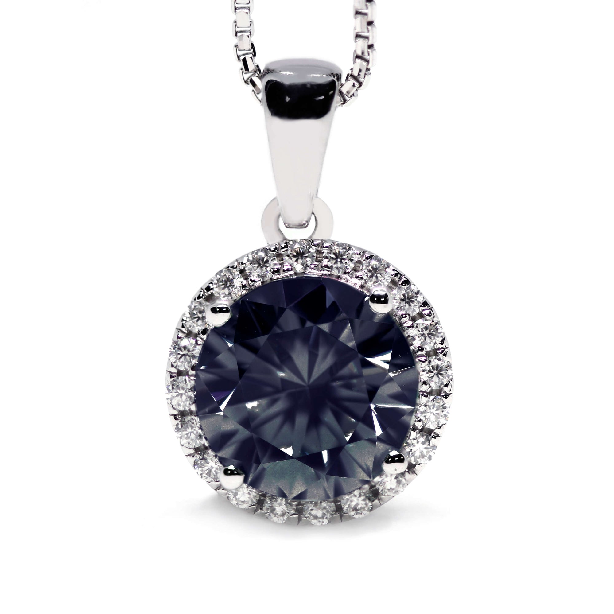 Dark Grey Moissanite Round Halo 18K Gold Pendant - LeCaine Gems