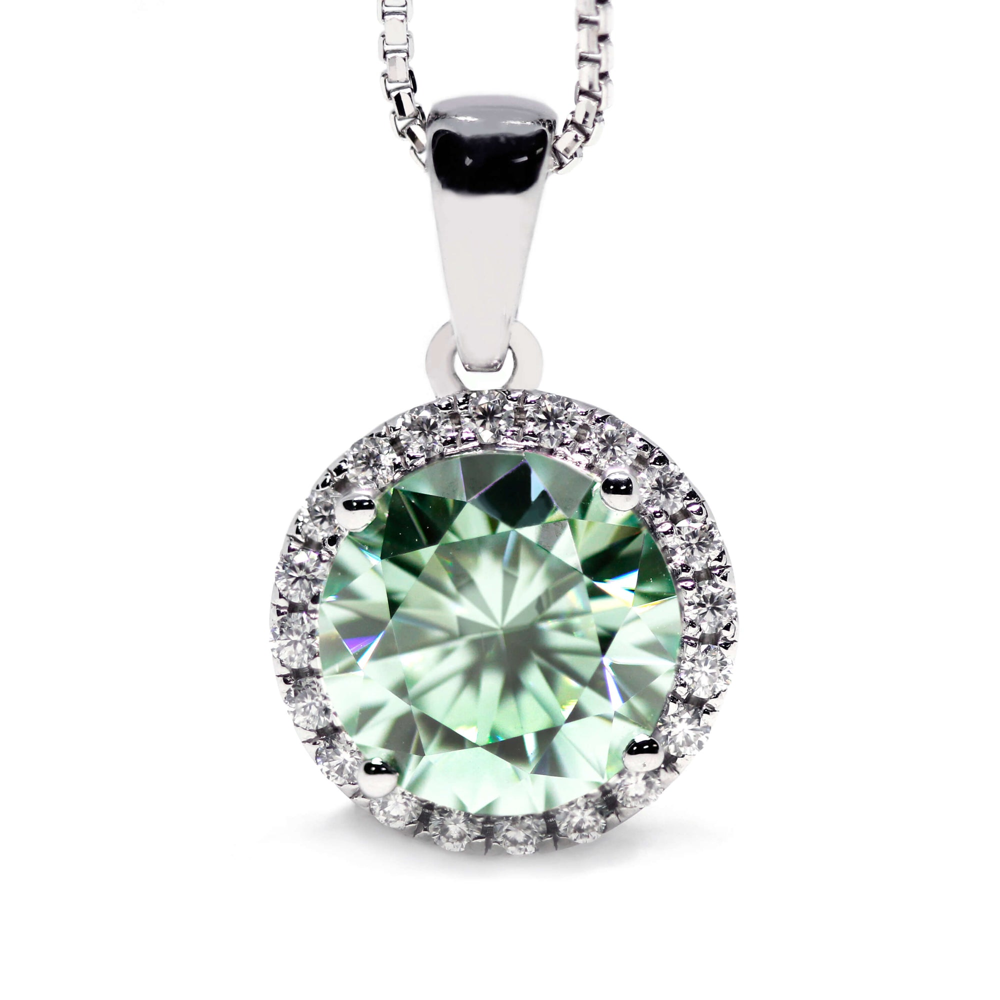 Mint Green Moissanite Round Halo 18K Gold Pendant - LeCaine Gems