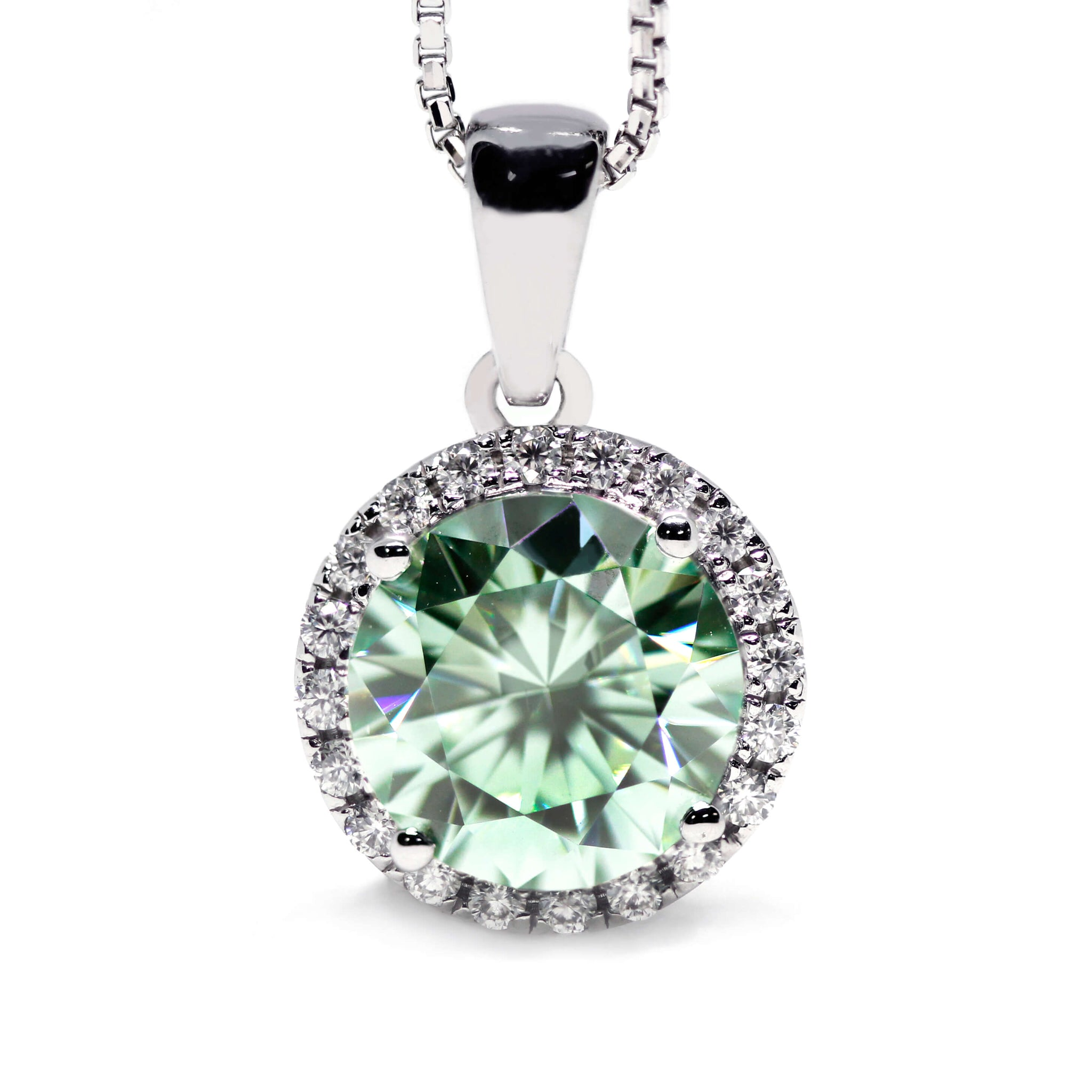 2 Carat Mint Green Moissanite Round Halo 18K White Gold Pendant