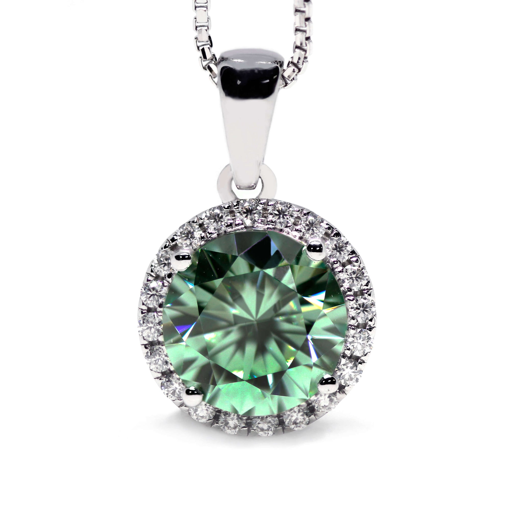 2 Carat Medium Green Moissanite Round Halo 18K Gold Pendant - Lecaine Gems Moissanite