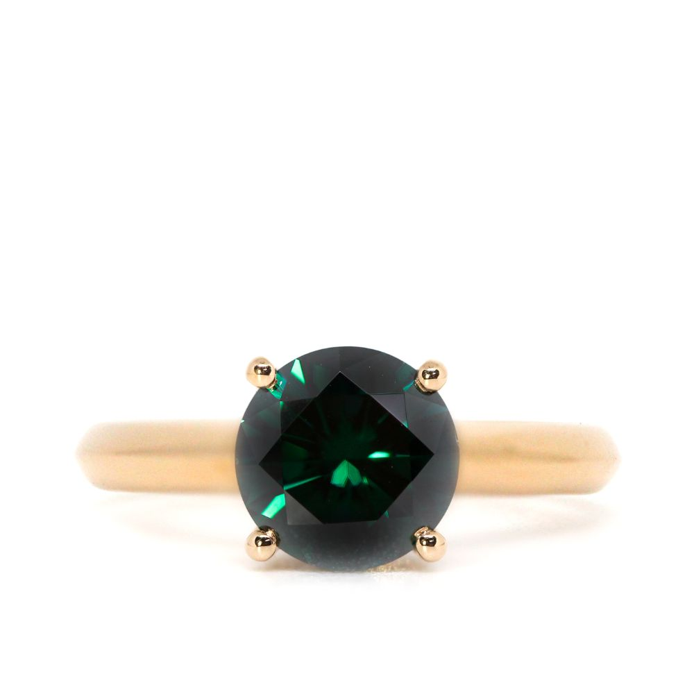 Ready-Made | 2 Carat Dark Green Moissanite Solitaire 4 Prong 18K Rose Gold Ring | Sizes HK 13 - HK 17 - LeCaine Gems