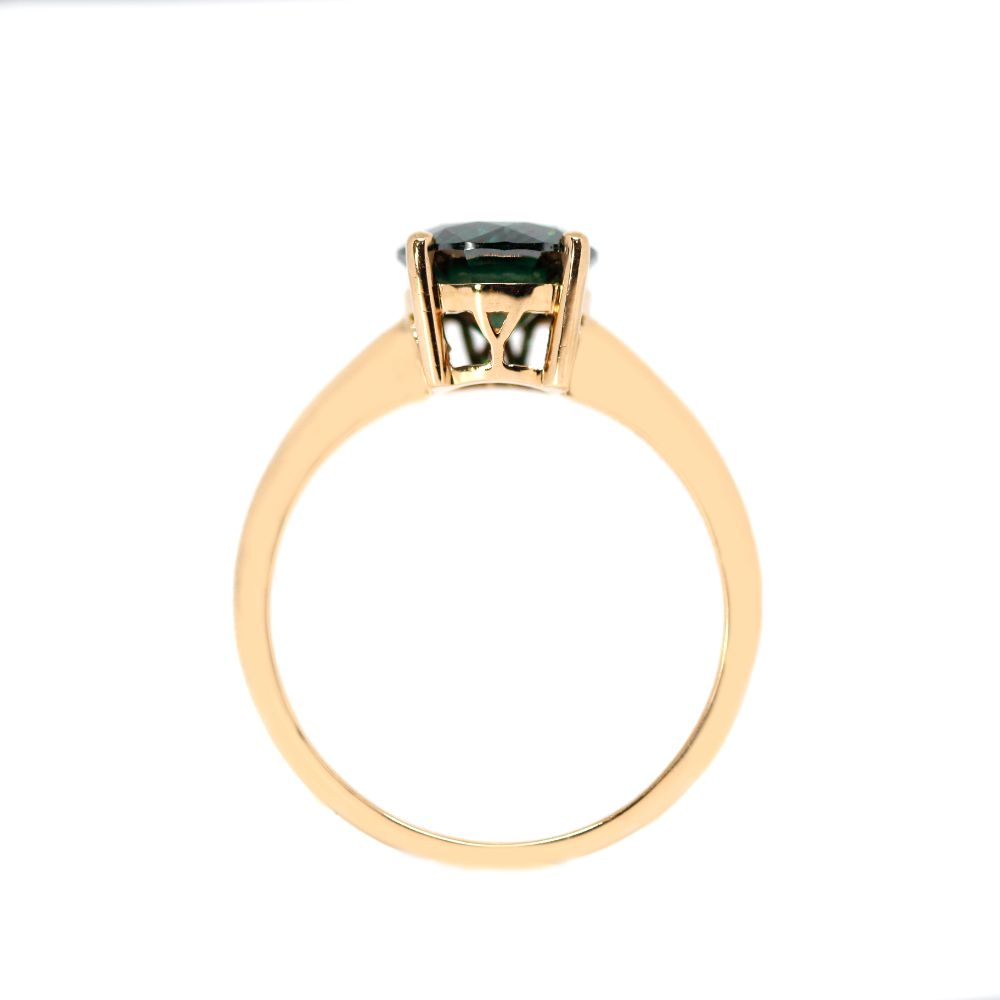 2 CARAT DARK GREEN MOISSANITE SOLITAIRE 4 PRONG 18K ROSE GOLD RING