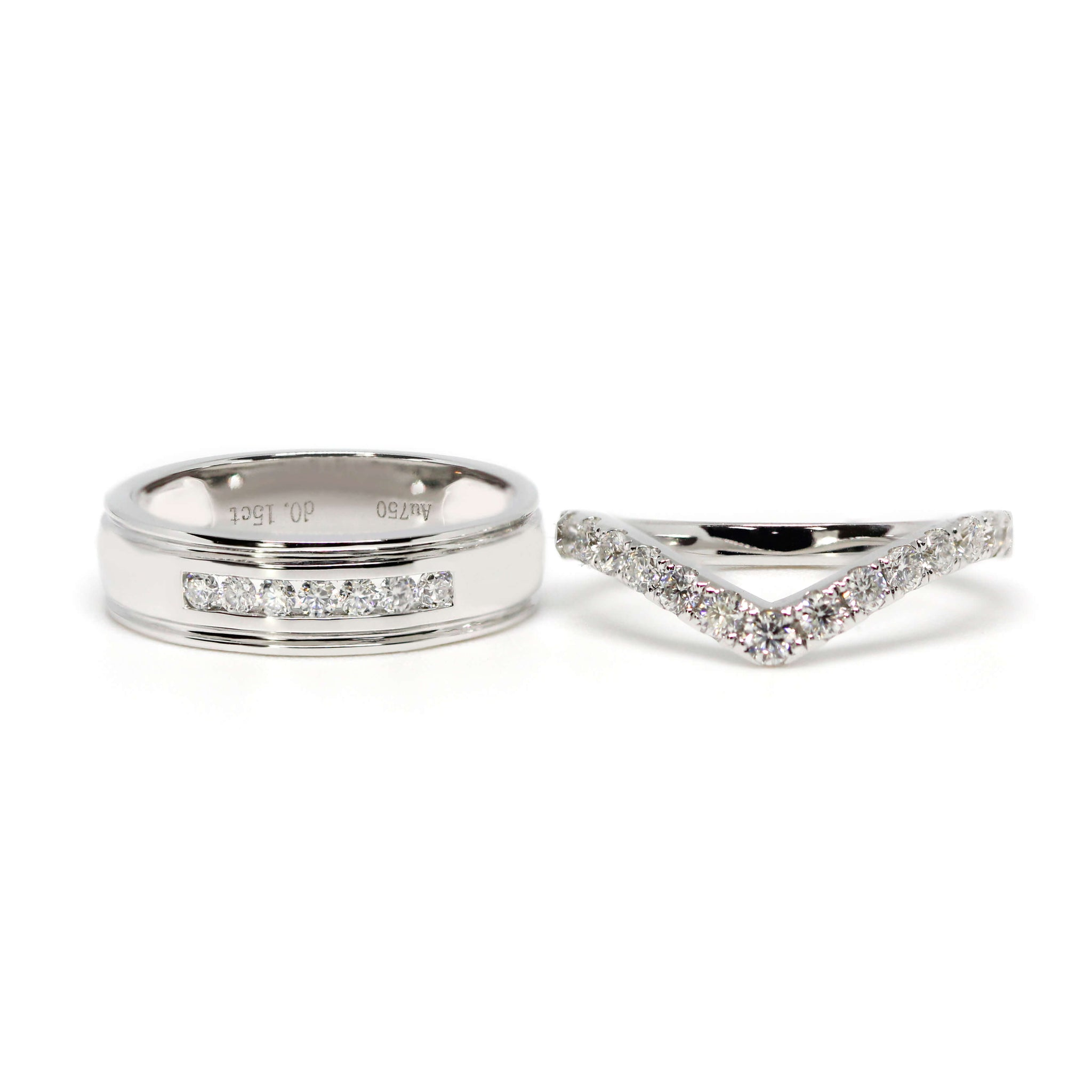 18K White Gold Matching Stacking Wedding Rings in V Shape and Moissanite