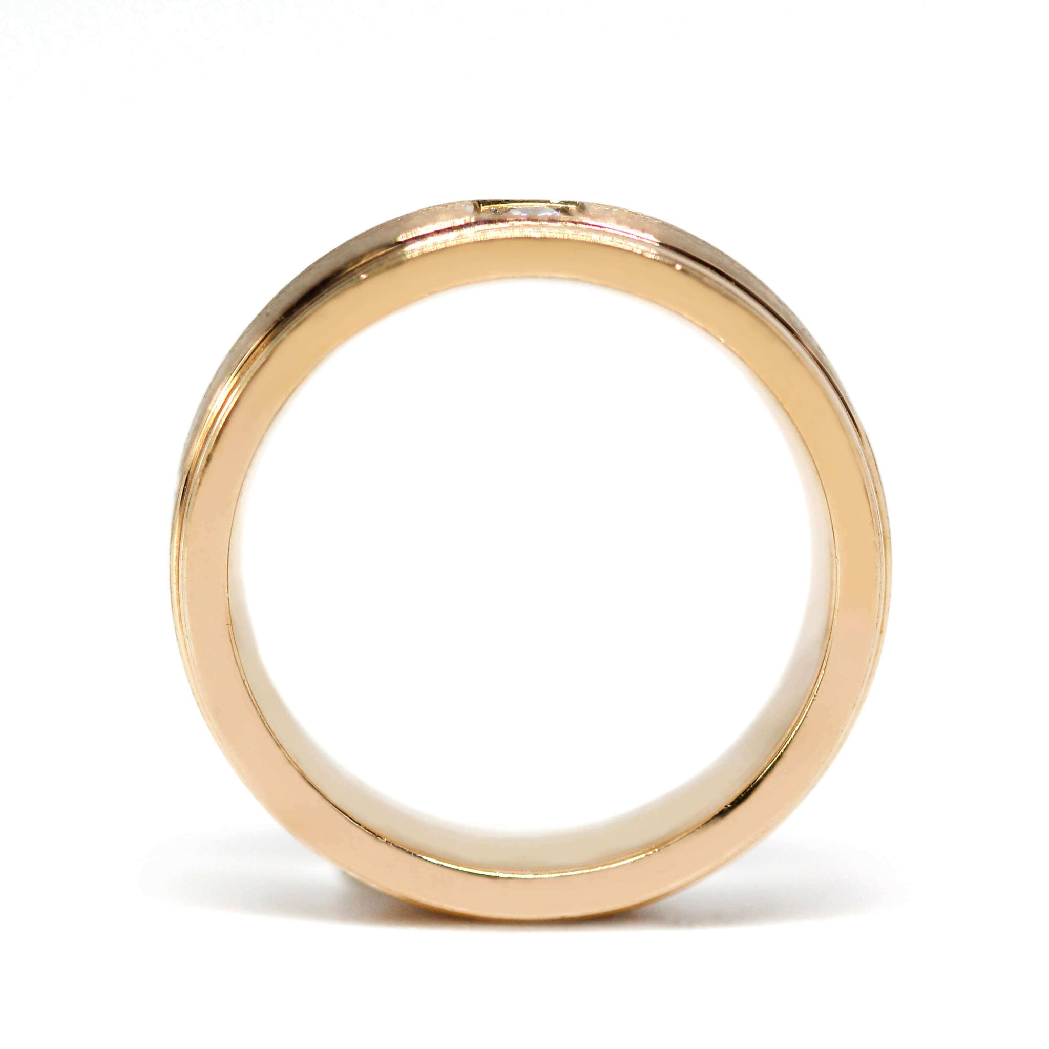 18K Rose Gold Brushed Matte Polished Edges Matching Wedding Rings with Moissanite