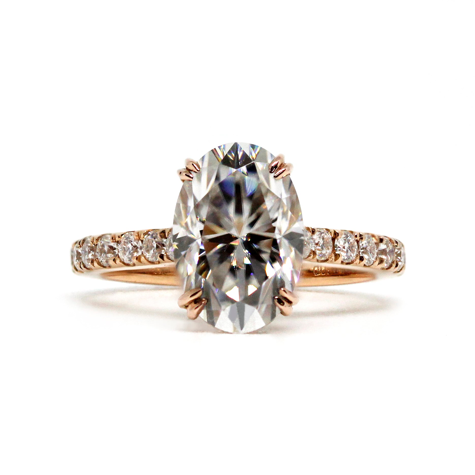 Oval Moissanite Ring with Hidden Halo in 18K Rose Gold Ring - Lecaine Gems Moissanite