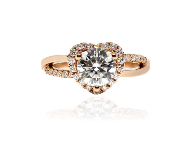 1 Carat Round Moissanite in Heart Shape Accent Halo 18K Rose Gold Ring