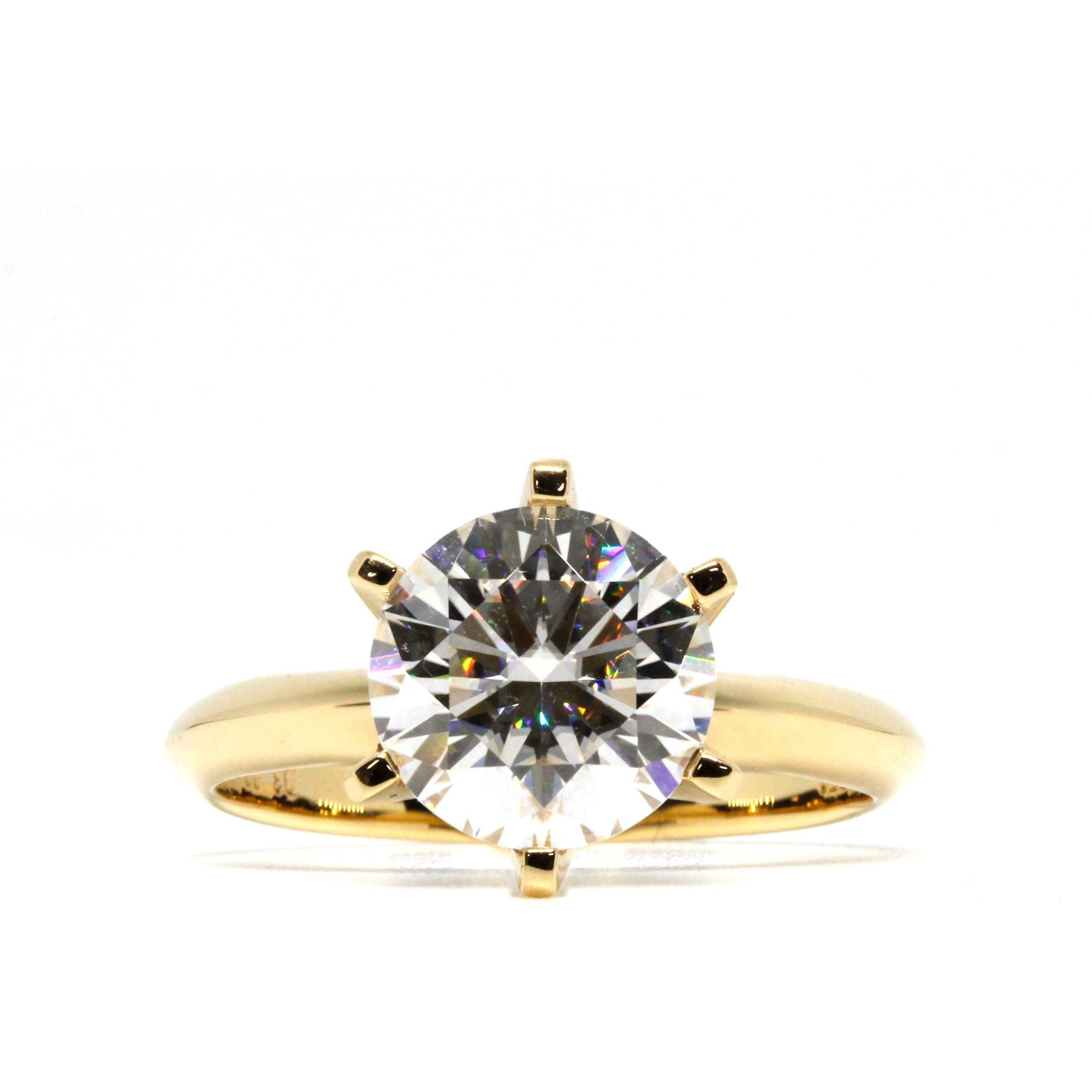 Round Moissanite Classic Solitaire 6 Prongs 18K Yellow Gold Band - Lecaine Gems Moissanite