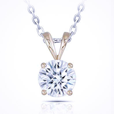 1 Carat Round Solitaire Moissanite 18K Yellow Gold Pendant