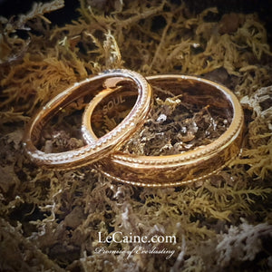 Fine Milgrain 18K Rose Gold Wedding Rings - LeCaine Gems