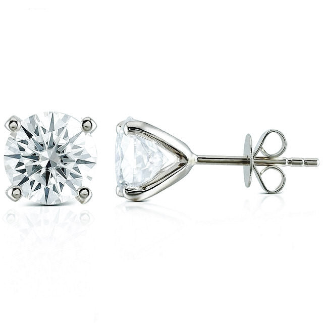 0.5 Carat Moissanite Solitaire 18K White Gold Stud Earrings - LeCaine Gems