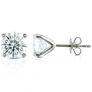 Ready Made | 1 Carat Moissanite Solitaire 18K White Gold Stud Earrings - LeCaine Gems