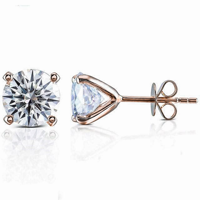 0.5 Carat Moissanite Solitaire 18K Rose Gold Stud Earrings - LeCaine Gems