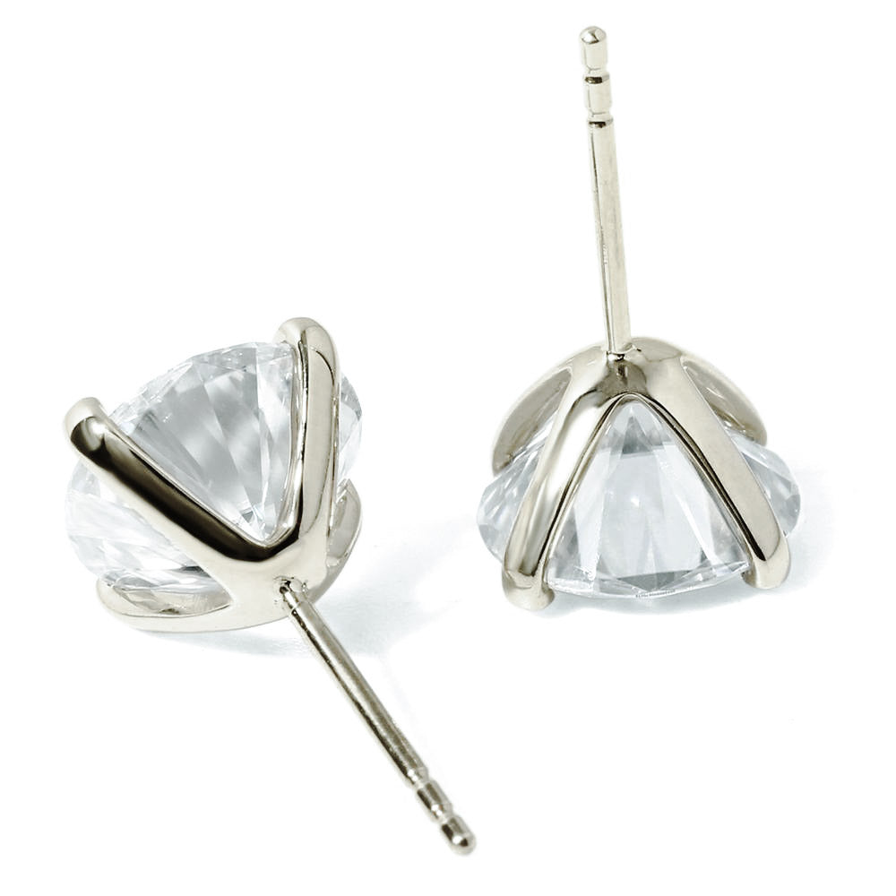 0.5 Carat Moissanite Solitaire 18K White Gold Stud Earrings