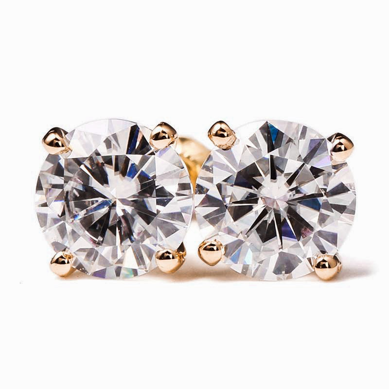 0.5 Carat Moissanite Solitaire 18K Rose Gold Stud Earrings