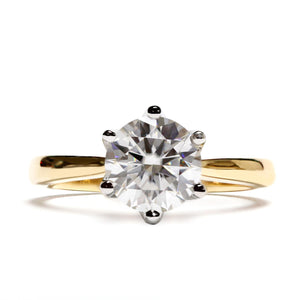 1 Carat Moissanite Engagement Ring Duo Tone Flower Petal Prongs - LeCaine Gems
