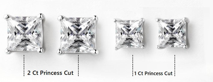 2 Carat Princess Cut Moissanite Yellow Gold Stud Earrings