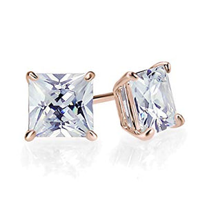 Princess Cut Moissanite Rose Gold Stud Earrings - Lecaine Gems Moissanite