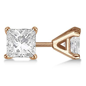 Princess Cut Moissanite Yellow Gold Stud Earrings - Lecaine Gems Moissanite