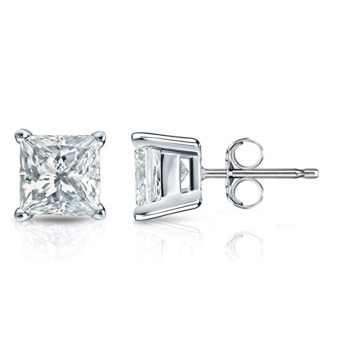 1 Carat Princess Cut Moissanite Stud Earrings