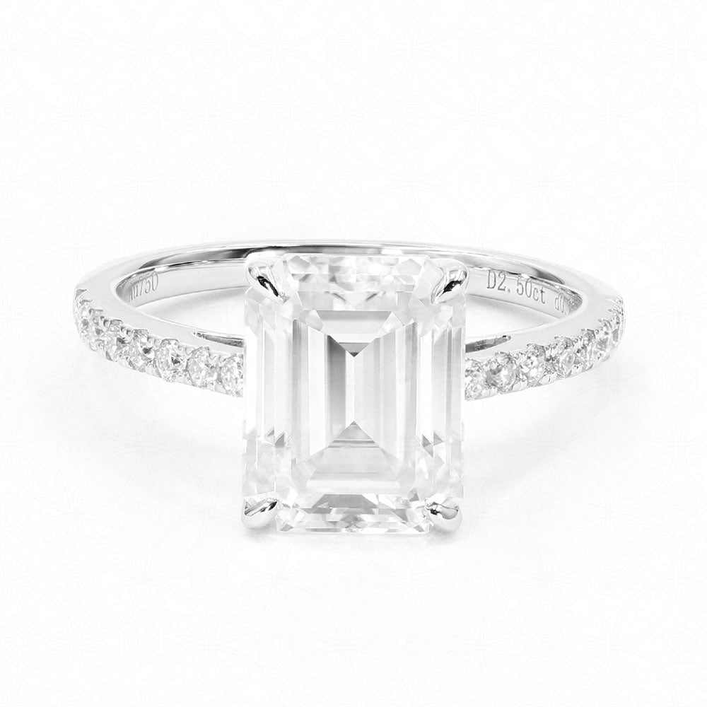 Willene Emerald Cut Moissanite in 18K White Gold Pave Ring - Lecaine Gems Moissanite