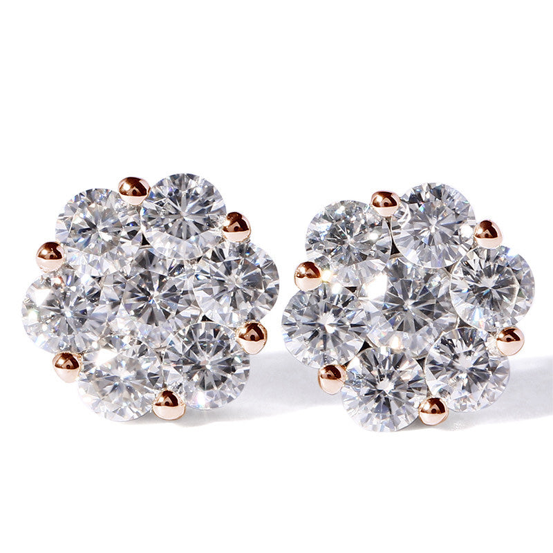2 Carat Cluster Moissanite Floral Earrings