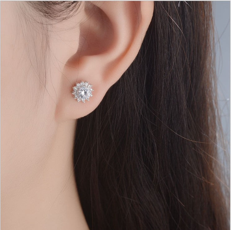 1 Carat Snowflake Halo Moissanite Stud Earrings