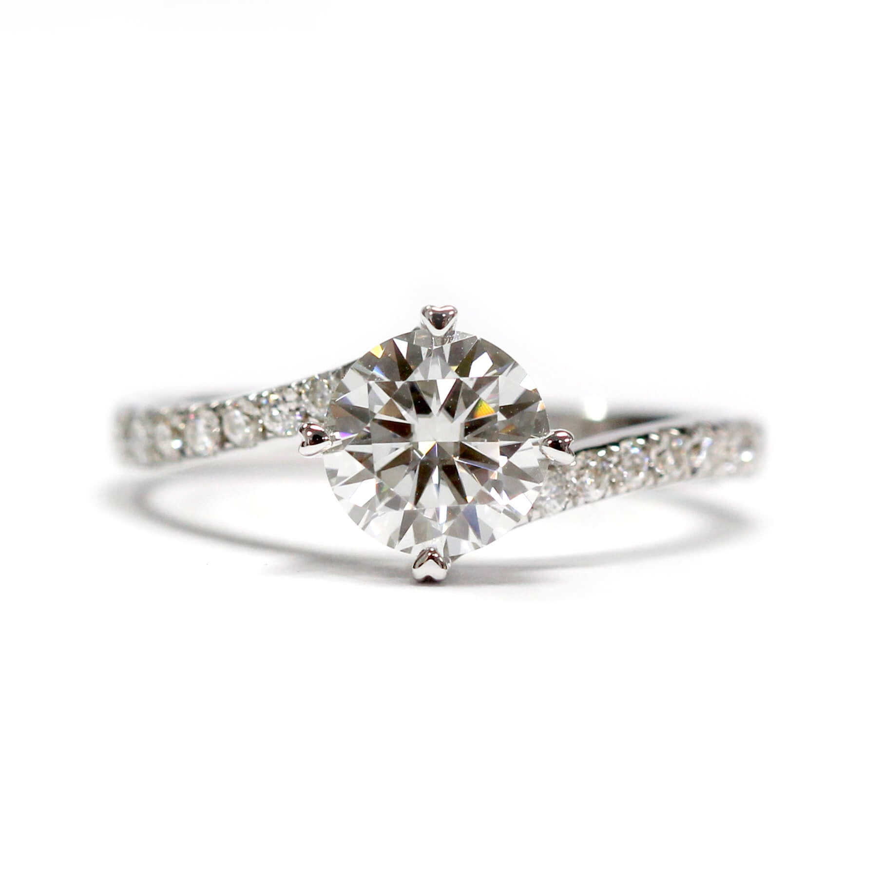 Ready-Made | Kerry 1.5 Carat Moissanite Bypass Twist Pave Ring | Sizes HK 8-9 - LeCaine Gems