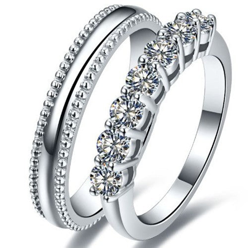 18K White Gold Wedding Rings - Lecaine Gems Moissanite