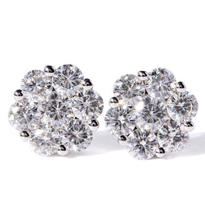 3 Carat Cluster Moissanite Floral Earrings - Lecaine Gems Moissanite