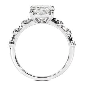 Nozomi Cushion Cut Moissanite in 18K White Gold Minimalistic Ring - Lecaine Gems Moissanite