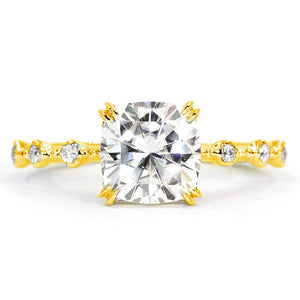 NOZOMI Cushion Cut Moissanite in 18K White Gold Minimalistic Ring - LeCaine Gems