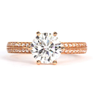 Lisa Moissanite 18K Rose Gold Double Shank Accent Ring - LeCaine Gems