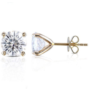 Ready Made | 1 Carat Moissanite Solitaire 18K Yellow Gold Stud Earrings - LeCaine Gems