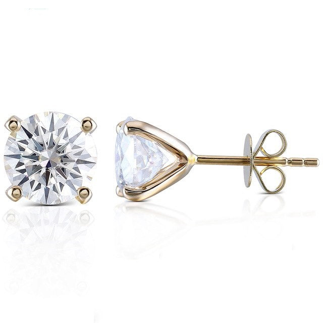 Moissanite Solitaire 14K Yellow Gold Stud Earrings - LeCaine Gems