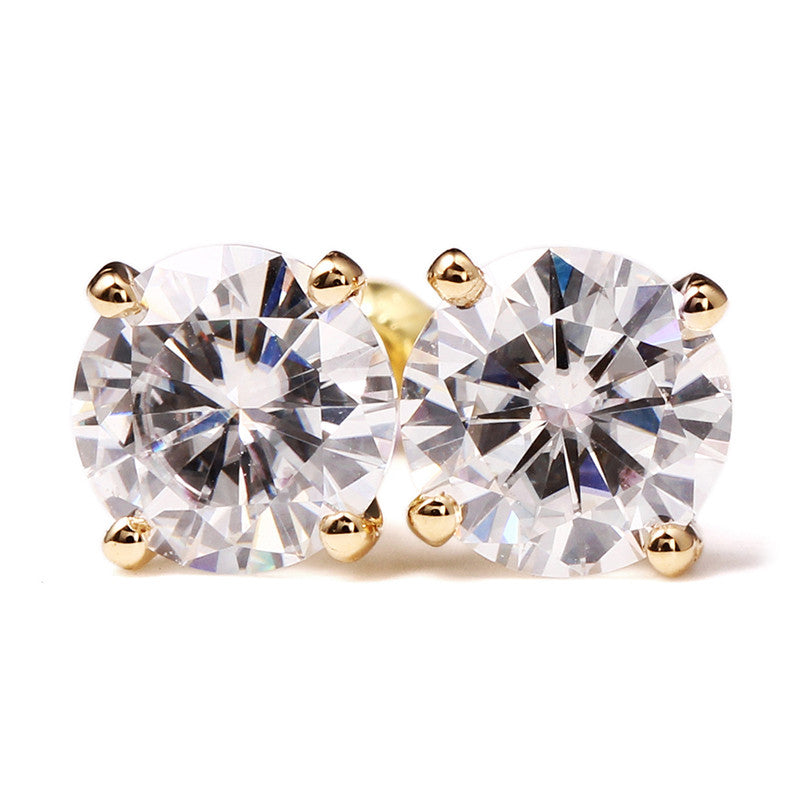 0.5 Carat Moissanite Solitaire 14K Yellow Gold Stud Earrings