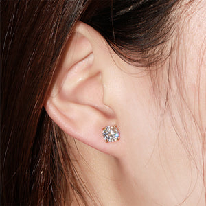 Moissanite Solitaire 14K White Gold Stud Earrings - LeCaine Gems