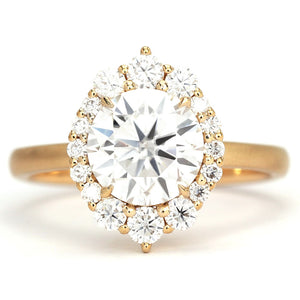 Ready Made | Jean Vintage Halo Round Moissanite 18K Matte Gold Ring - LeCaine Gems