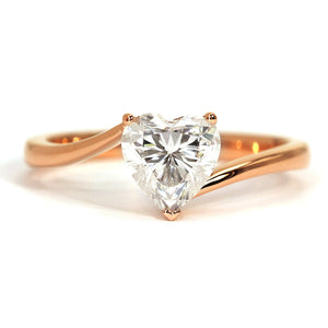 Esther Heart Moissanite Solitaire Gold Ring - LeCaine Gems