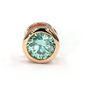 Mint Green Moissanite Round Solitaire Bezel 18K Gold Pendant - LeCaine Gems