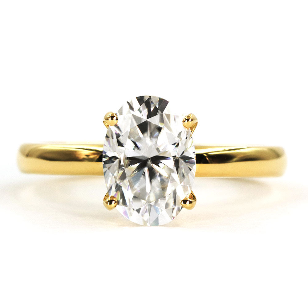Ollie Oval Moissanite 18K Yellow Gold Ring - LeCaine Gems