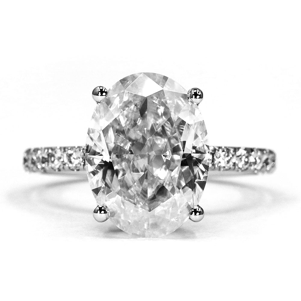 Alexis Oval Crushed Ice Moissanite Ring - Lecaine Gems Moissanite