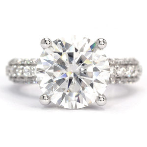 Ready Made | 4 Carat LeCaine Ring Crushed Moissanite Diamonds Crown Setting 18K White Gold - LeCaine Gems