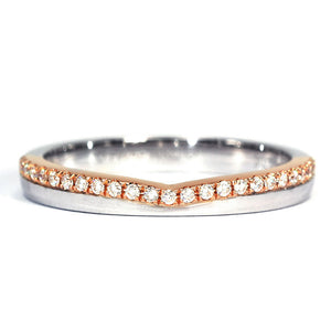 Serene 18K Duo Gold Matching Wedding Rings with Moissanite - LeCaine Gems