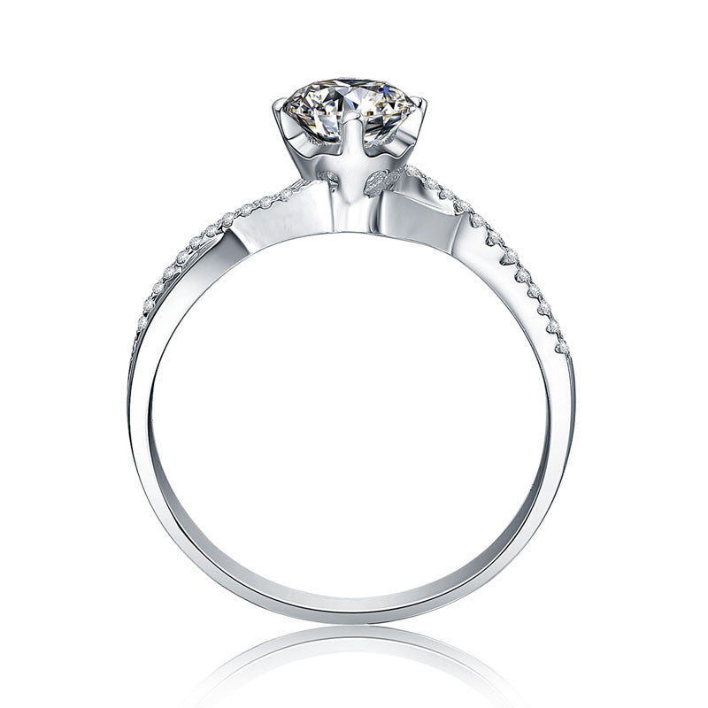 1 Carat Moissanite in Mobius Loop with Accent Stones Ring - Moissanite Lecaine