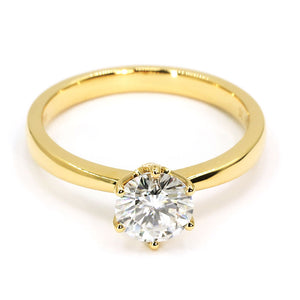 Round Moissanite Solitaire 6 Prong 18K Yellow Gold - Lecaine Gems Moissanite
