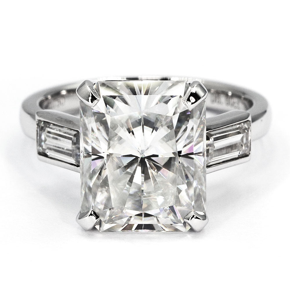 Audrey Radiant Cut 3 Stone Moissanite Ring - LeCaine Gems