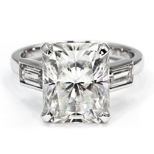 Audrey Radiant Cut 3 Stone Moissanite Ring - Lecaine Gems Moissanite