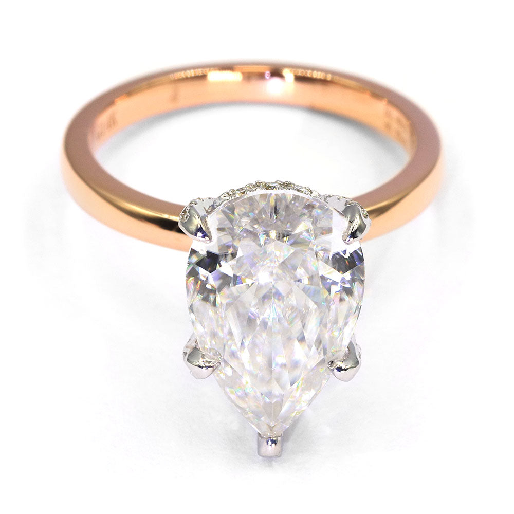 Brandi Pear Shaped Crushed Ice Moissanite Hidden Halo Ring - Lecaine Gems Moissanite