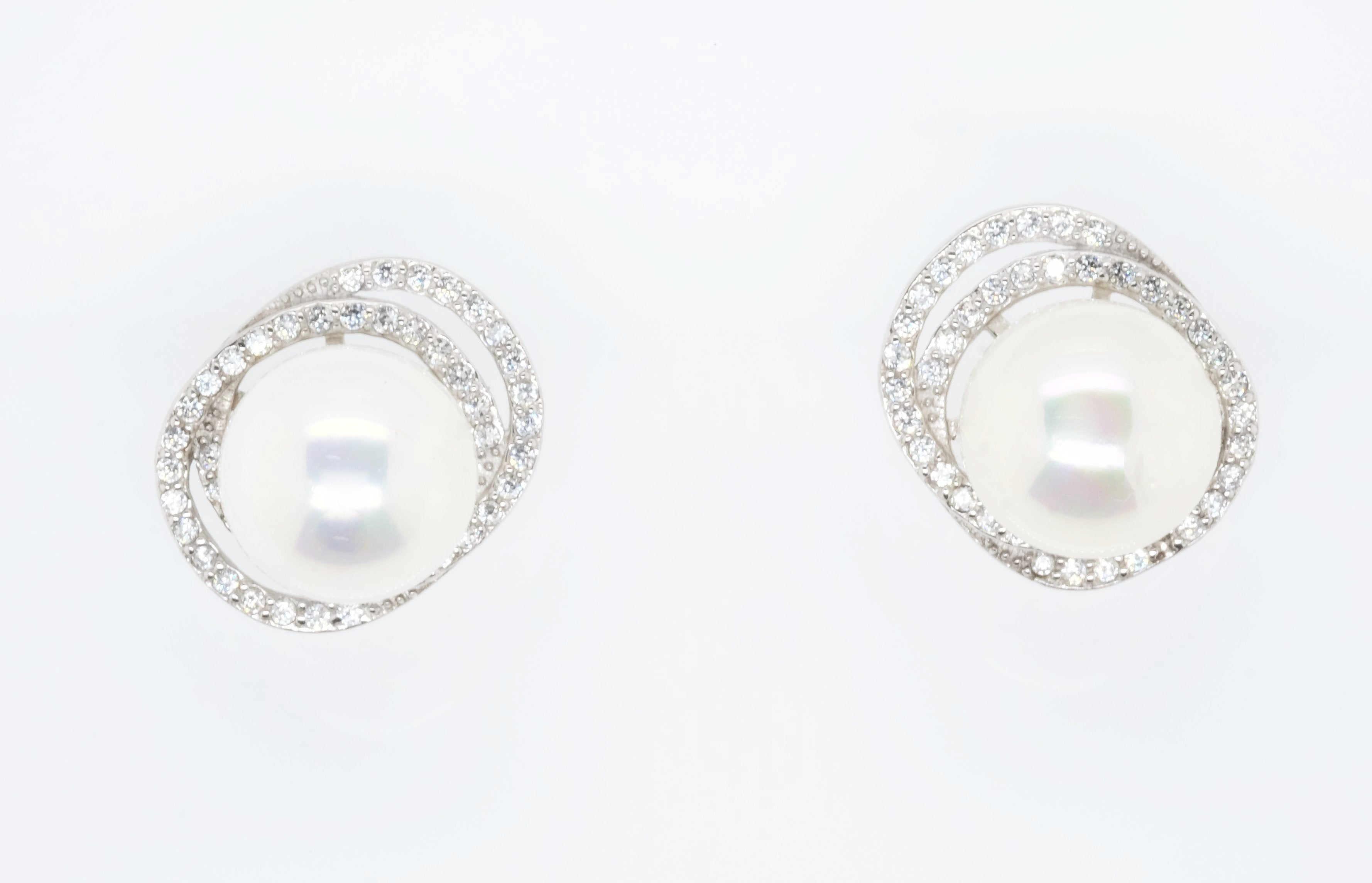 Goddess Aphrodite White Pearl Orbit Stud Earrings