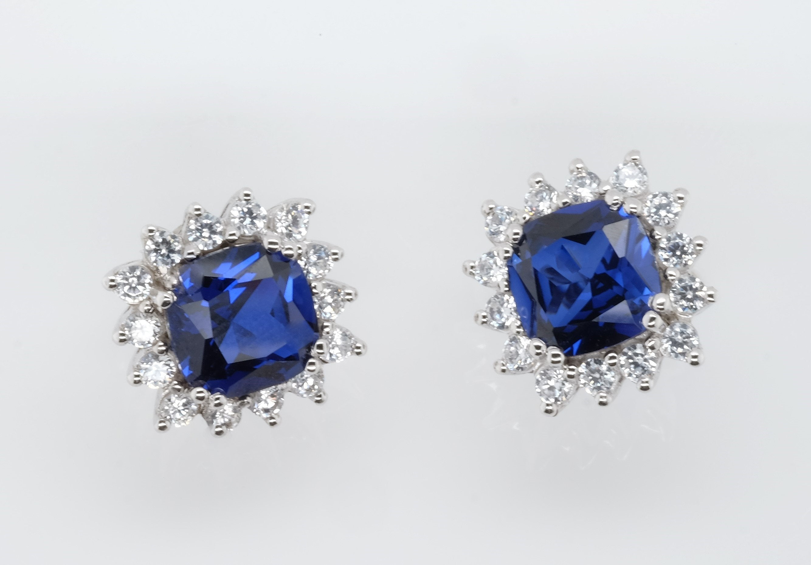 Goddess Astraea Bedazzle Blue Cushion-Cut Earrings